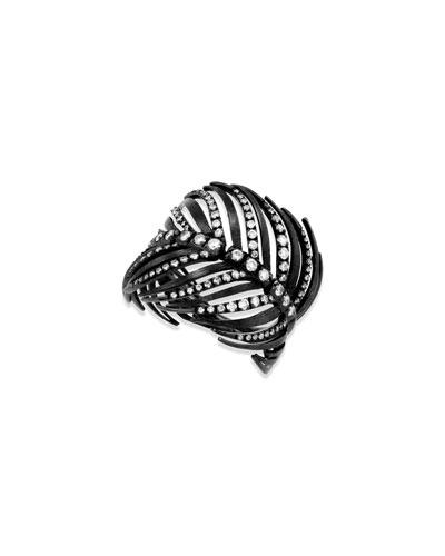 18k Black Feather Ring w/ Diamonds