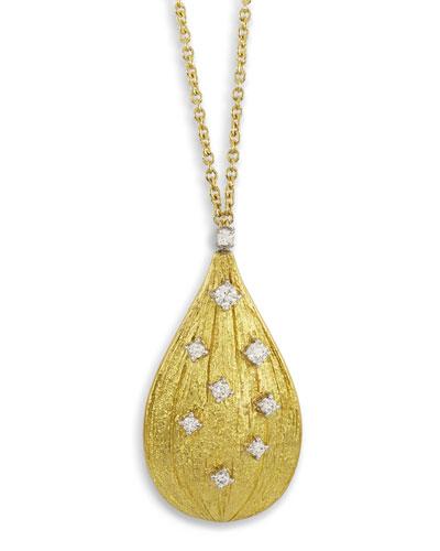 Renaissance 18k Teardrop Pendant Necklace with Diamonds