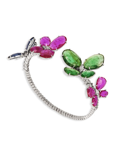Nature 18k White Gold Mixed Butterfly Bracelet