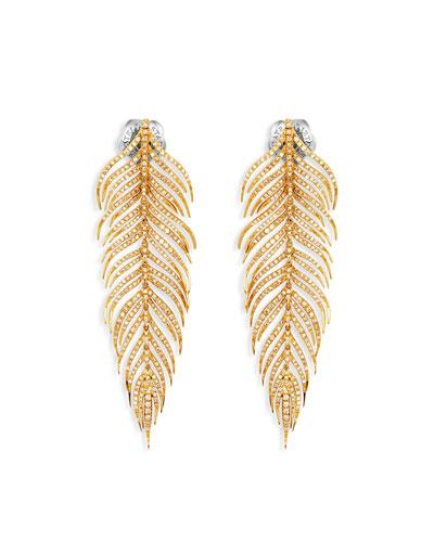 18k Gold Feather Earrings w/ Diamonds