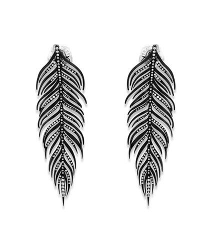 18k Black Feather Earrings w/ Diamonds