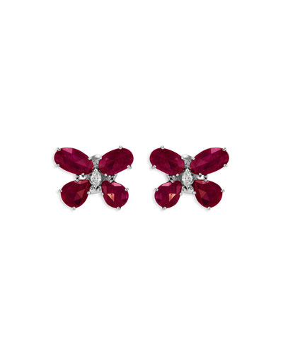 Nature 18k White Gold Ruby Butterfly Earrings