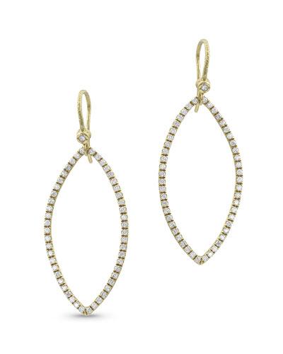 18k Gold Diamond Marquise Earrings