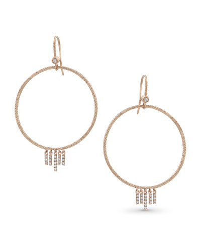 18k Rose Gold Diamond Chevron Drop Earrings