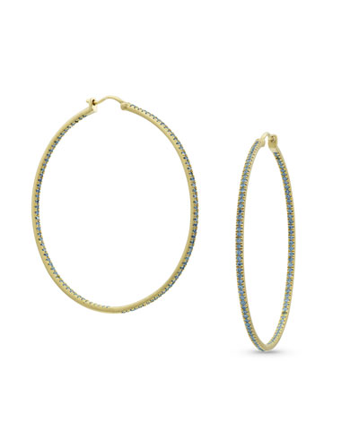 18k Gold Blue Diamond Hoop Earrings