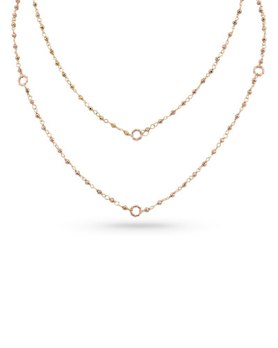 18k Rose Gold Rose Pyrite & Bamboo Link Necklace, 42