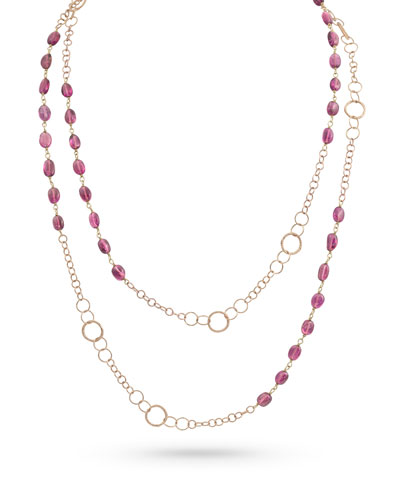 18k Gold Pink Tourmaline Long Necklace, 42