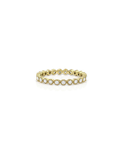 18k Gold Milgrain Diamond Stacking Ring (Small)
