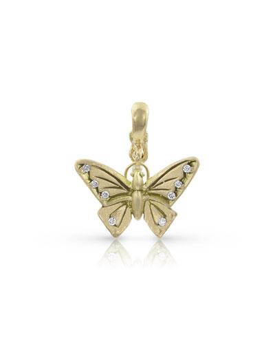18k Gold Diamond Butterfly Pendant