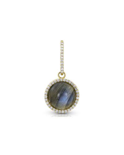 18k Gold Labradorite & Diamond Pendant