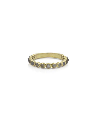 18k Gold Labradorite Stack Ring, Size 7