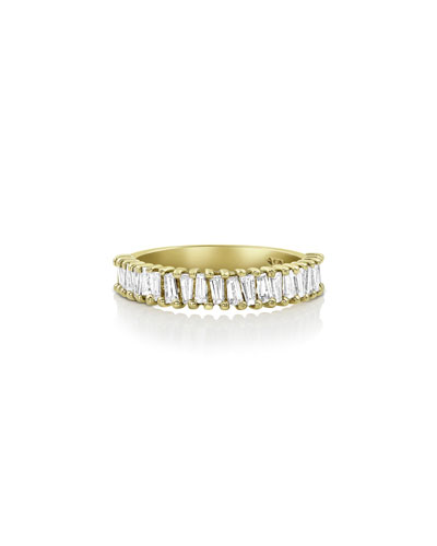 18k Gold Tapered Diamond Baguette Ring, Size 7
