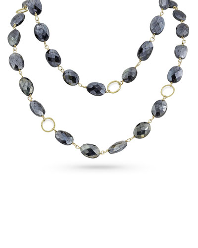 18k Gold Dark Labradorite Long Necklace, 42