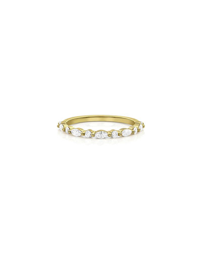 18k Gold Diamond Marquise & Round Stack Ring  Size 7