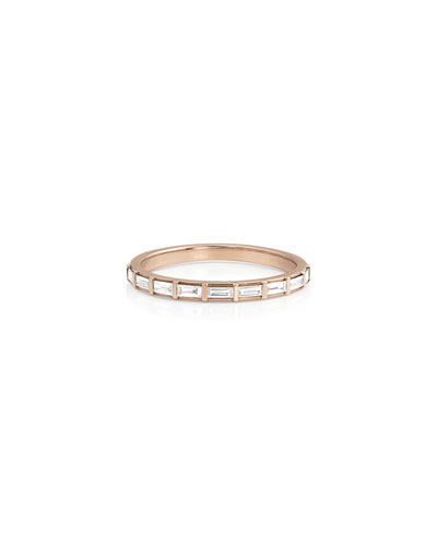 14k Rose Gold Baguette-Diamond Halfway Ring, Size 7