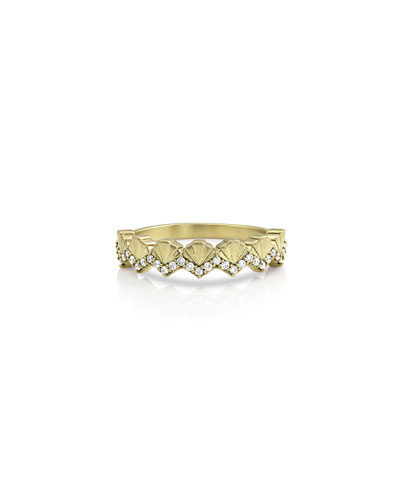 14k Gold Diamond Deco Fan Ring, Size 7