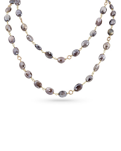 18k Rose Gold Pink Moonstone Long Necklace, 42