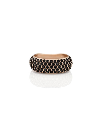 18k Rose Gold Black Diamond Ring  Size 7