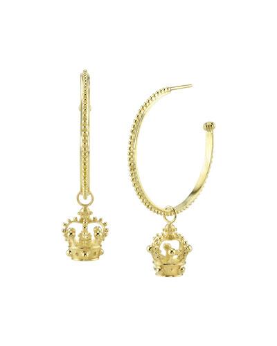 18k Gold Crown Hoop Drop Earrings