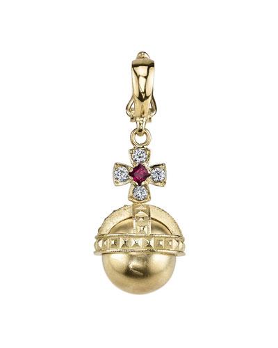 18k Gold Ruby & Diamond Orb Charm