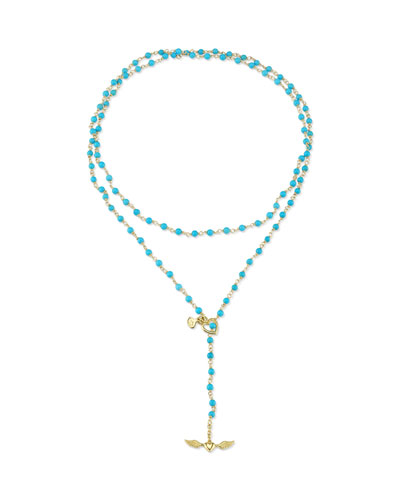 18k Gold & Turquoise Bead Rosary Necklace