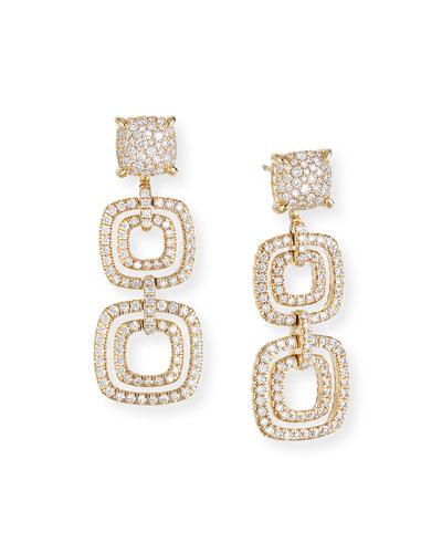 Chatelaine 18k Gold Diamond 3-Drop Earrings