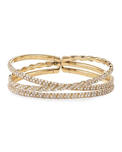 18k Gold Three-Row Paveflex Bracelet with Diamonds, Size L