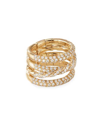 18k Gold Pave Flex Four-Row Diamond Ring, Size 7.5-8.5