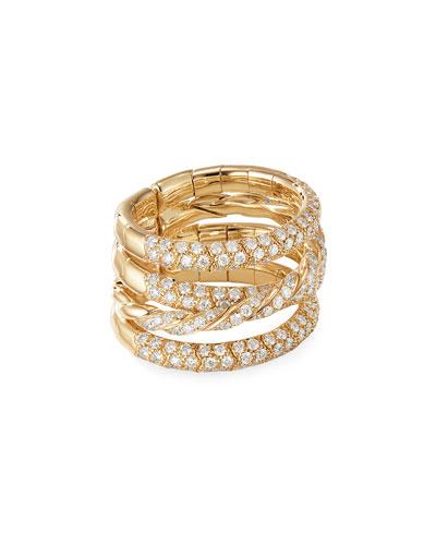 18k Gold Pave Flex Four-Row Diamond Ring, Size 4.5-5.5