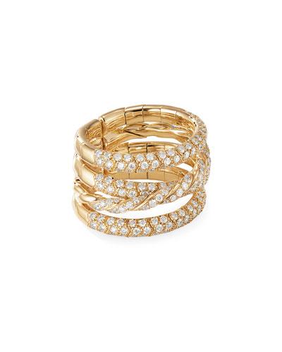 18k Gold Pave Flex Four-Row Diamond Ring, Size 6-7