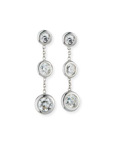 18k White Gold Diamond 3-Drop Earrings