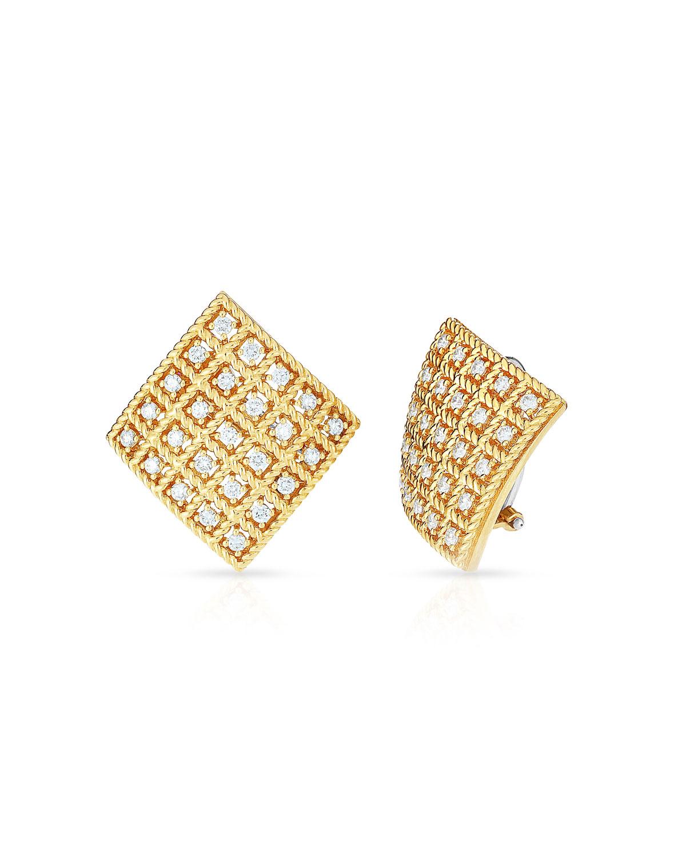 Byzantine 18k Gold Diamond Square Stud Earrings