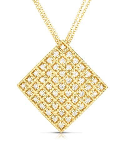 Byzantine 18k Gold Diamond Square Pendant Necklace