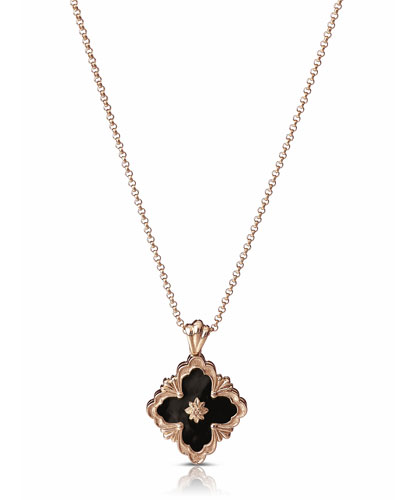 Opera 18k Rose Gold Pendant Necklace in Onyx