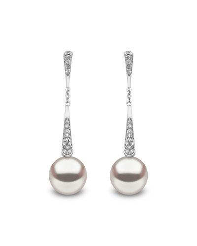 18k White Gold Pearl & Diamond Linear Drop Earrings