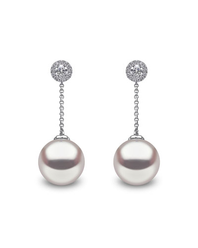18k White Gold Diamond Posts & Pearl Drop Earrings