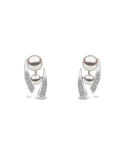 18k White Gold Pearl & Tapered Diamond Stud Earrings