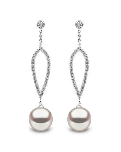 18k White Gold 10mm Pearl & Diamond Drop Earrings