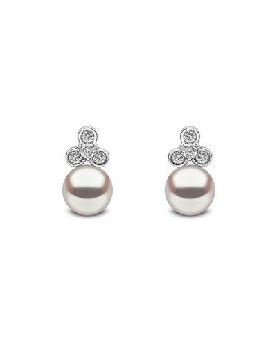 18k White Gold Pearl & Diamond Trio Stud Earrings