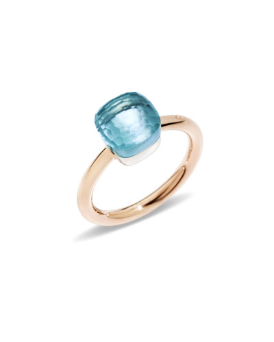 Nudo Rose Gold & Blue Topaz Mini Ring, Size 52
