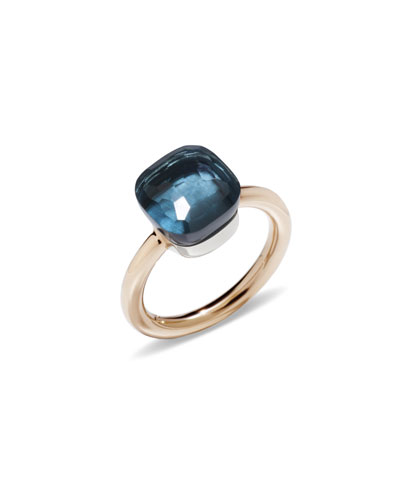 Nudo 18k Rose Gold London Blue Topaz Ring, Size 52