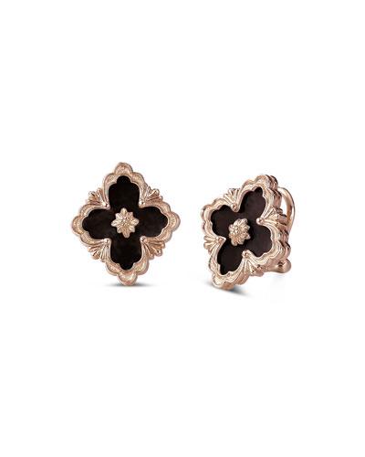 Opera 18k Rose Gold Button Earrings in Onyx