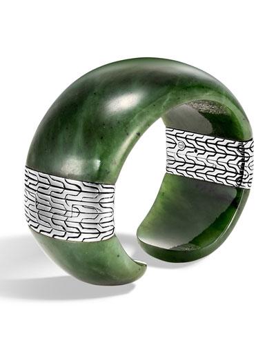 Classic Chain Wide Silver Flex Kick Cuff Bracelet with Green Jade, Size M