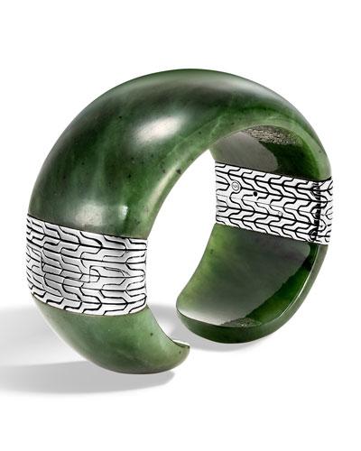 Classic Chain Wide Silver Flex Kick Cuff Bracelet with Green Jade, Size S