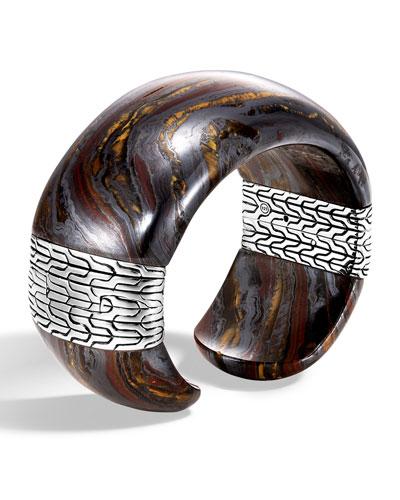 Classic Chain Wide Silver Flex Kick Cuff Bracelet with Tiger Iron, Size S