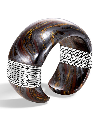 Classic Chain Wide Silver Flex Kick Cuff Bracelet with Tiger Iron, Size M