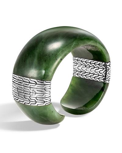 Classic Chain Wide Silver Flex Kick Cuff Bracelet with Green Jade, Size L
