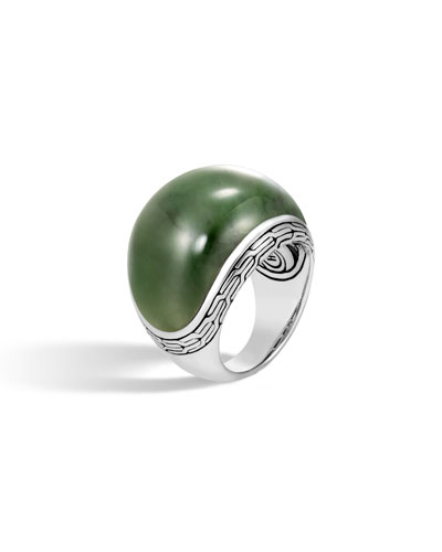 Classic Chain Dome Ring with Green Jade, Size 7
