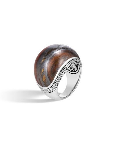 Classic Chain Dome Ring with Tiger Iron, Size 6