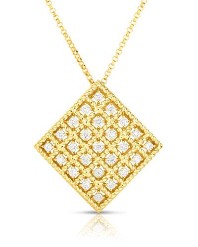 Roman Barocco 18k Diamond Square Pendant Necklace